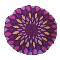 Vivai Home Purple Spirograph Pattern Wool Cotton Feather 16 Round Pillow