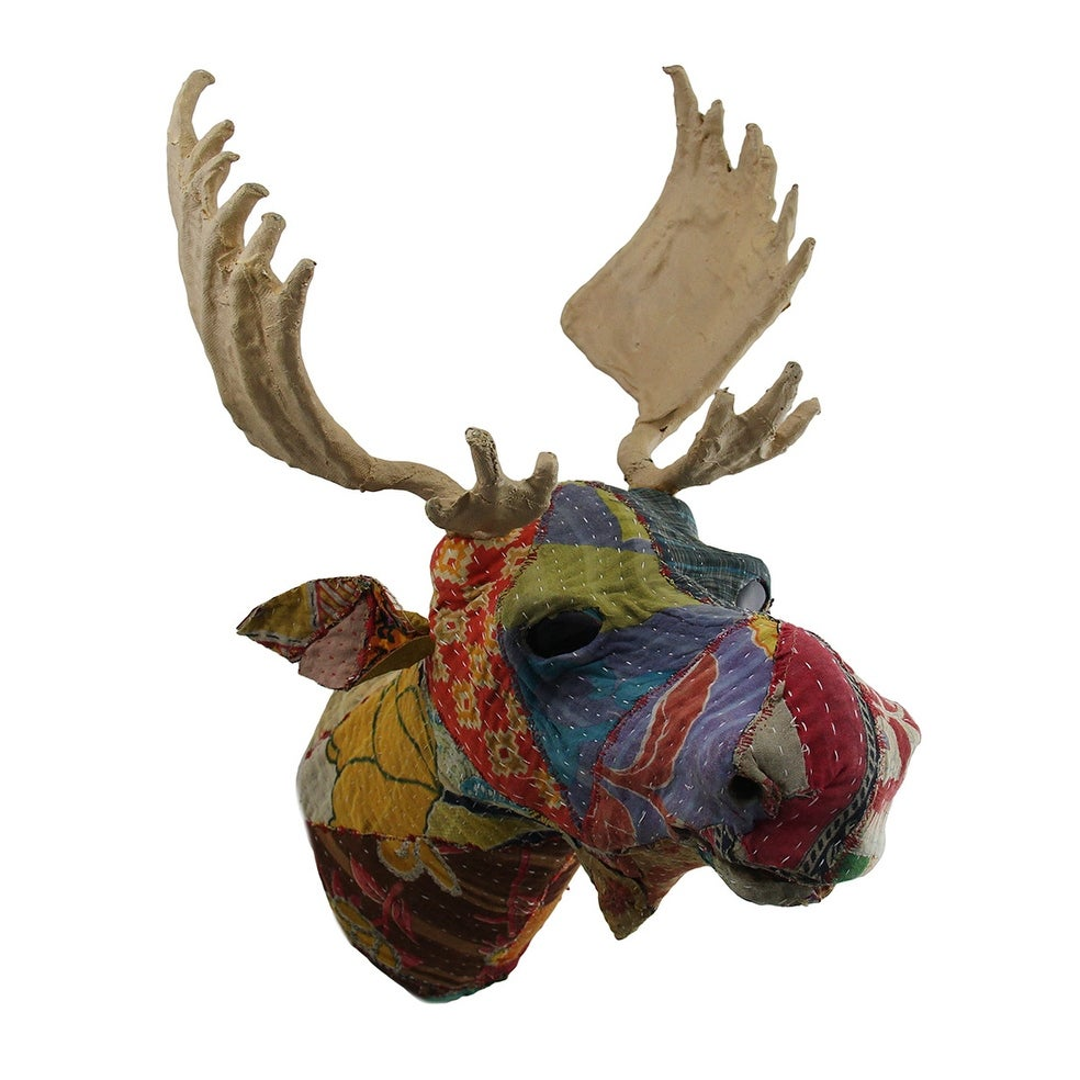 Recycled Indian Sari Fabric Covered Moose Head Wall Mount Bust 20 X 16 14 Inches