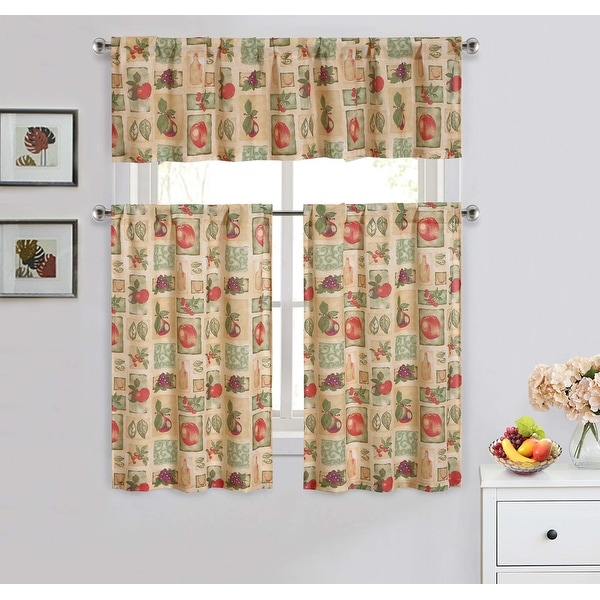 Fruits 3 Piece Kitchen Curtain Set Beige Valance 57x14 Inches Tiers 28x36