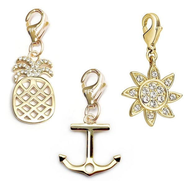Julieta Jewelry Anchor, Pineapple, Sun 14k Gold Over Sterling Silver Clip-On Charm Set