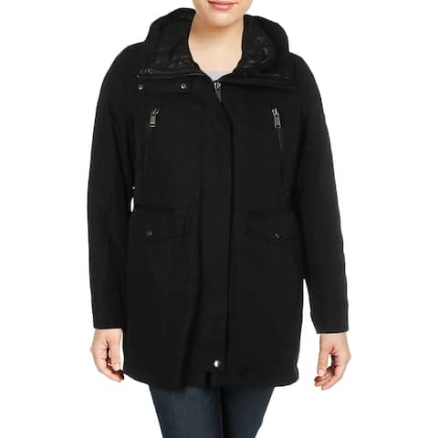 Andrew Marc Womens Stacey Windbreaker Jacket Fall Leather Trim