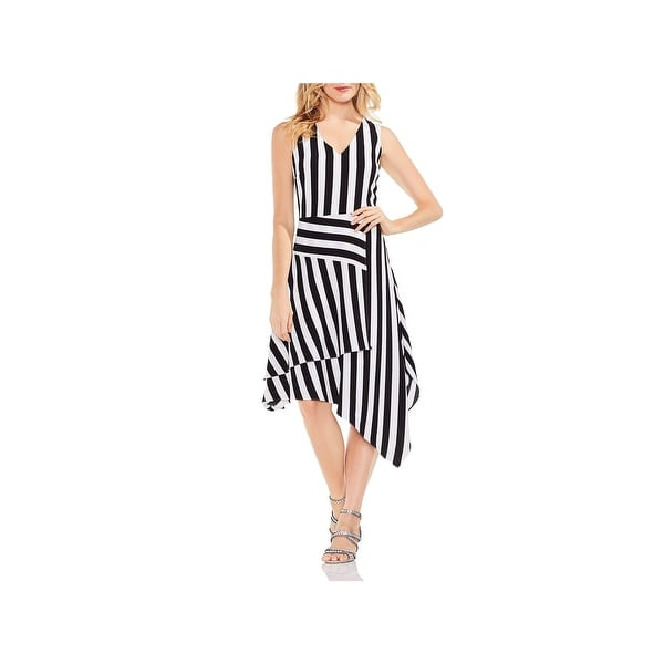 Vince Camuto Womens Casual Dress Striped Asymmetrical