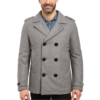 Nautica Mens Wool Blend Military Peacoat Grey Heather Large L