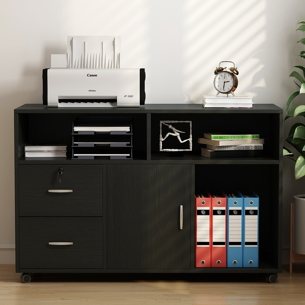 Shop 2 Drawers Storage Printer Stand Mobile Lateral