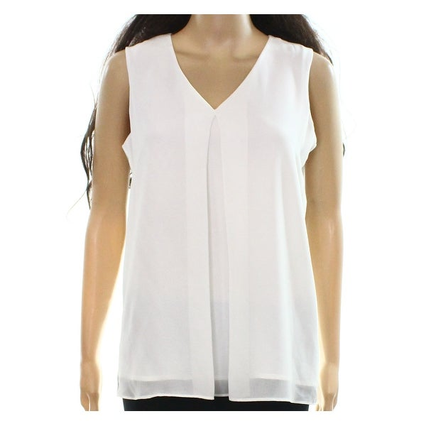 c512cacfd33e4 Shop Karl Lagerfeld NEW White Womens Size XS V-Neck Pleat-Front Tank Top -  Free Shipping On Orders Over  45 - Overstock.com - 20605444