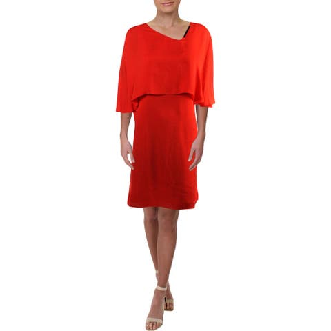 Halston Heritage Womens Party Dress Asymmetric Sheath - Red - 2