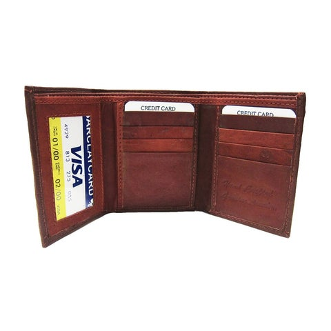Leather Wallet, Tri-Fold - Burgundy