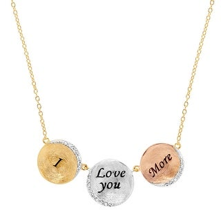 Crystaluxe 'I Love You More' Necklace with Swarovski Crystals in 18K Gold-Plated Sterling Silver - White