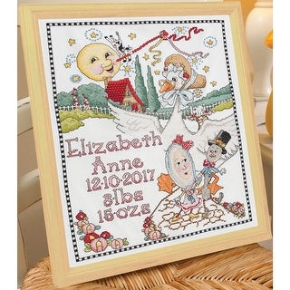 "Classic Mother Goose Bib Pair Stamped Cross Stitch Kit-9""X14"" Set Of 2"