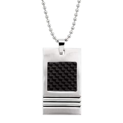 Men's Two-Tone Rectangular Textured Pendant in Stainless Steel - White