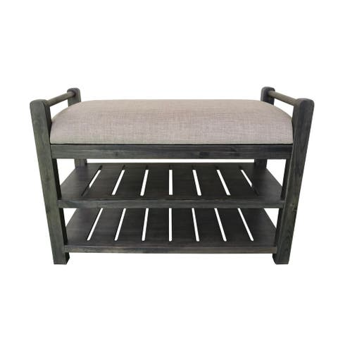 Schuyler Cushioned Bench with shoe rack