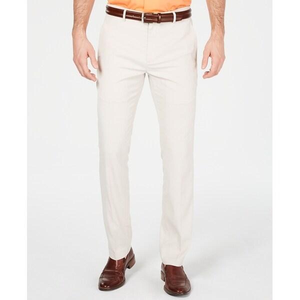 Alfani Mens Dress Pants Stone Beige Size 38x32 Tech Flat Front Stretch. Opens flyout.