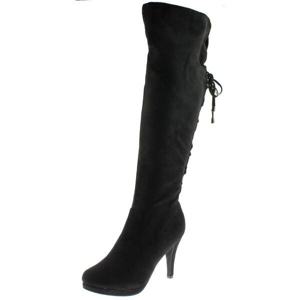 Dream Paris Womens Thigh-High Boots Faux Suede Heels - 10 medium (b,m)