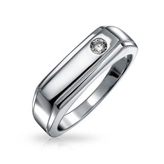 Bling Jewelry Mens 925 Silver Bezel Set CZ Signet Wedding Band
