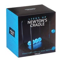 "LED Newton's Cradle - Law of Physics Frosted Glass Globes Cool Blue Lights - 9' x 11"" - Black"