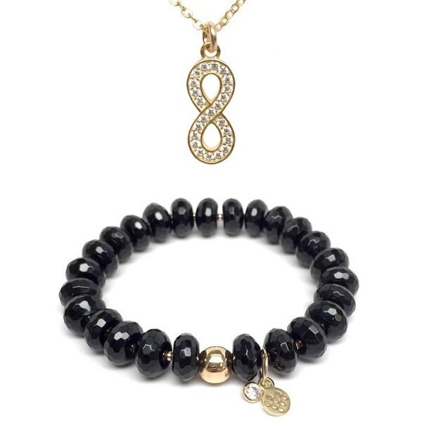 """Black Onyx 7"""" Bracelet & CZ Infinity Gold Charm Necklace Set"""
