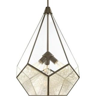 "Progress Lighting P5322 Cinq 3 Light 19"" Wide Pendant with Glass Panels"