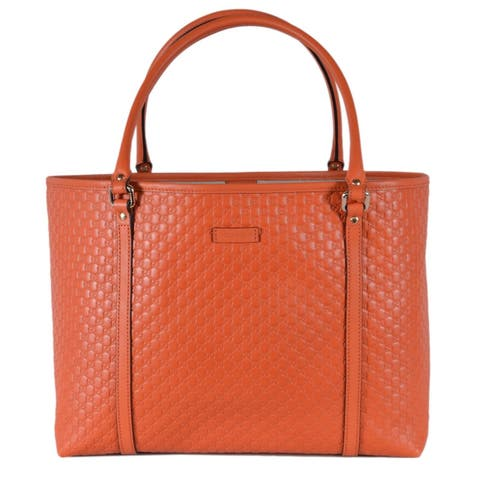 fd0fe4faf Gucci 449647 Sun Orange Leather Micro GG Guccissima Joy Bag Purse Tote