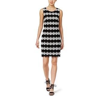 Tommy Hilfiger Circle Lace Sheath Dress Black/White - 8