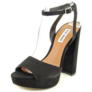 Steve Madden Brrit Women Open Toe Leather Black Platform Heel