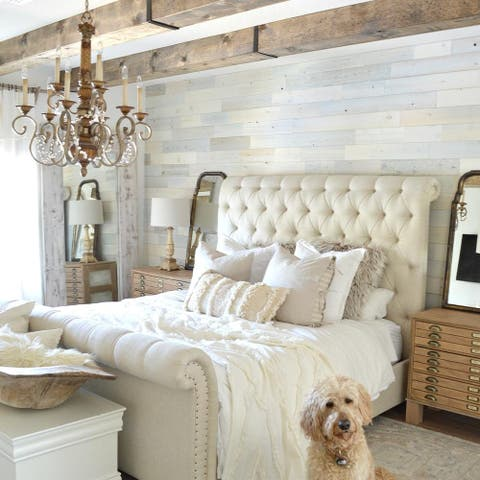 Timberchic Reclaimed Wooden Wall Planks - Peel and Stick Application (Coastal White)