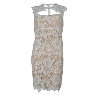 Betsy & Adam Women's Lace Mesh Dress - ivory/ nude