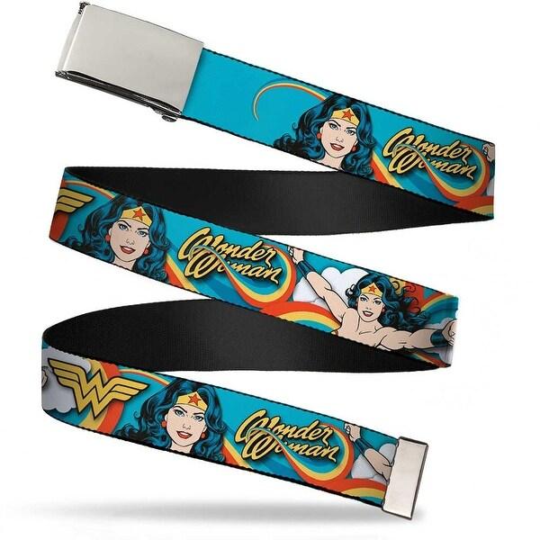 Blank Chrome Buckle Wonder Woman Poses Rainbow Swirl Blue Webbing Web Web Belt