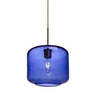 Besa Lighting 1JT-NILES10BL Niles Single Light Mini Pendant with Blue Bubbled Glass Shade