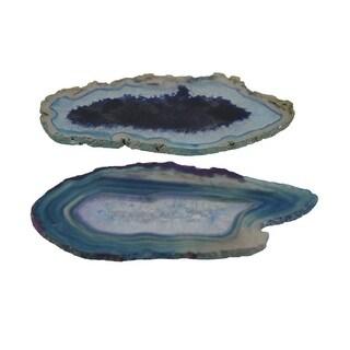 Blue Polished Brazilian Agate Slice Natural Edge Stone Coaster