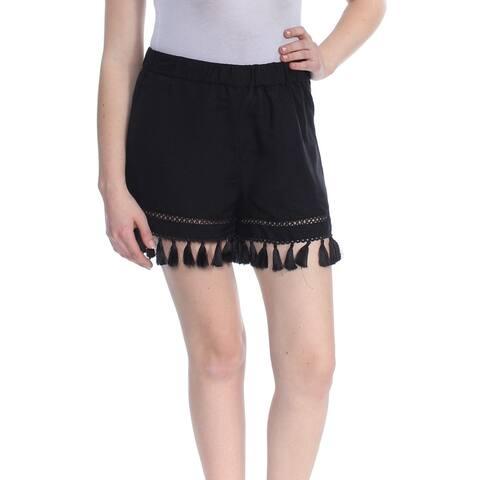 XOXO Womens Black Pull On Tassel Hem Short Juniors Size: XS