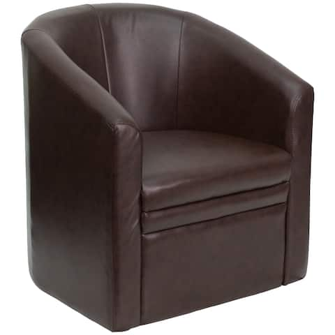 Brown LeatherSoft Barrel-Shaped Guest Chair - Home Office Furniture - Side Chair