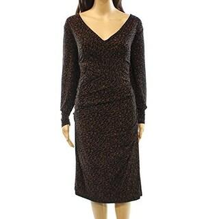 Lauren Ralph Lauren Women Plus Surplice Sheath Dress Brown, Brown, 14W