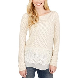 Lucky Brand Womens Pullover Top Lace Trim Crochet