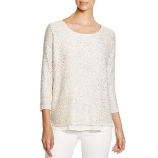 Sioni Womens Sweater Metallic Knit