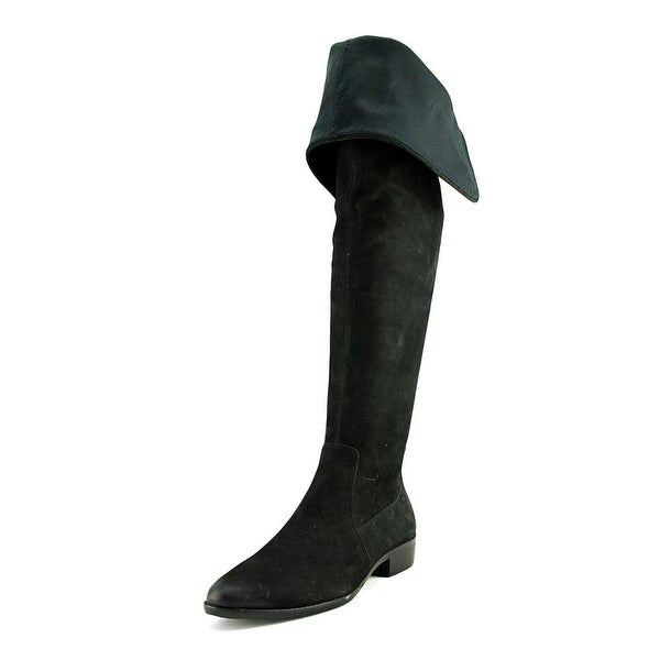 Aldo Chiaverini Women Round Toe Suede Black Over the Knee Boot