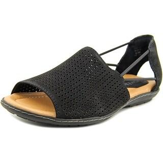 Earth Shelly Women Peep-Toe Leather Black Flats