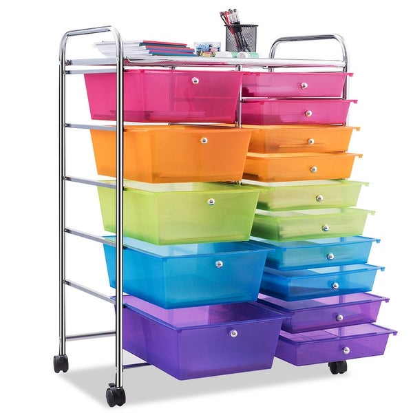 6 Drawer Rolling Storage Cart Tools Multicolor Scrapbook Paper Office Organizer