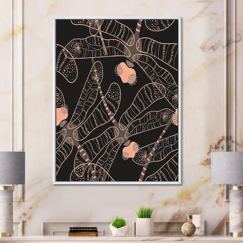 Designart 'Folk Art Seamless Pattern With Dragonflies' Bohemian & Eclectic Framed Canvas Wall Art Print