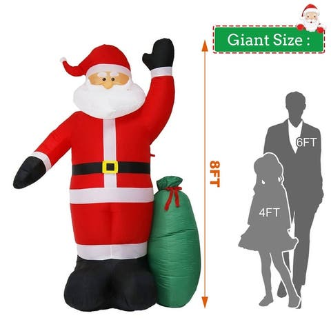 Kinbor 8Ft Giant Christmas Inflatable Santa with Gift Bag, Lighted Blow Up Christmas Outdoor Yard Decoration - red