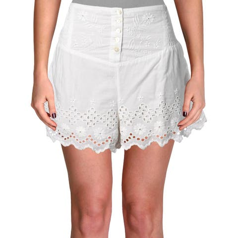 Free People Womens Casual Shorts Cotton Eyelet - S