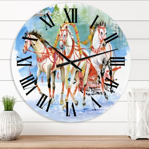 Designart 'Galoping Horses With Carriage In The Snow' Farmhouse wall clock