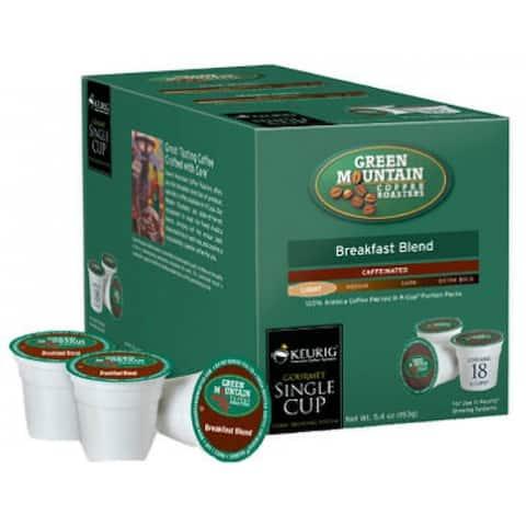 Keurig Green Mountain Coffee Breakfast Blend K-Cups, 18 Count