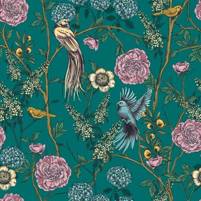 Pine Floral and Birds Wallpaper - 10'ft H x 24''inch W