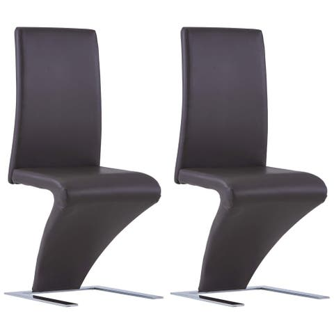 vidaXL Dining Chairs with Zigzag Shape 2 pcs Brown Faux Leather
