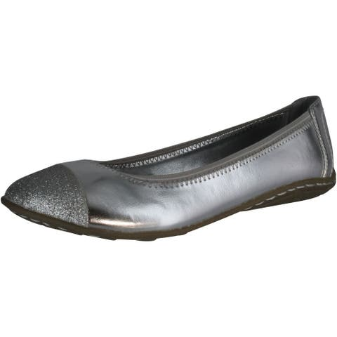 Kenneth Cole Girl's Buck N Roll Flats Shoes - Silver
