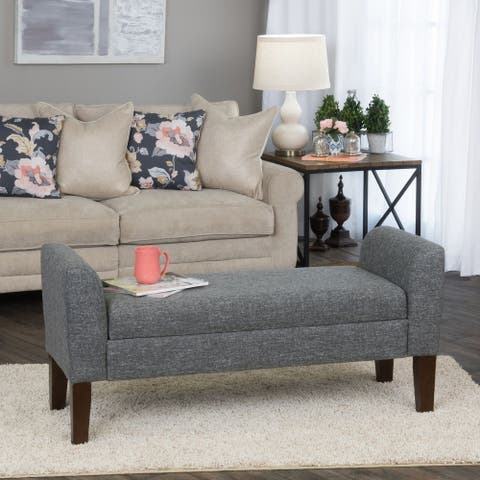 Carson Carrington Borg Charcoal Fabric Storage Bench Settee