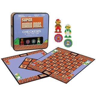 Super Mario Bros Checkers & Tic-Tac-Toe Collector's Edition Board Game - multi