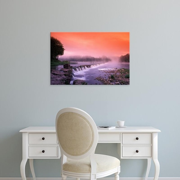 Easy Art Prints Janis Miglavs's 'Sunrise In The Morning Mist Over The Waterfall' Premium Canvas Art