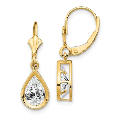 14K Yellow Gold 9x6mm Pear Cubic Zirconia Leverback Earrings by Versil