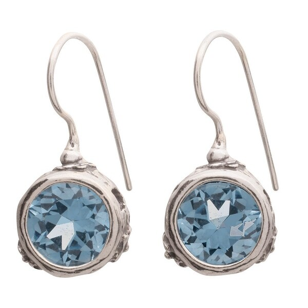 Women's Earrings - Faceted Topaz Colored Cubic Zirconia in Sterling Hooks - Silver